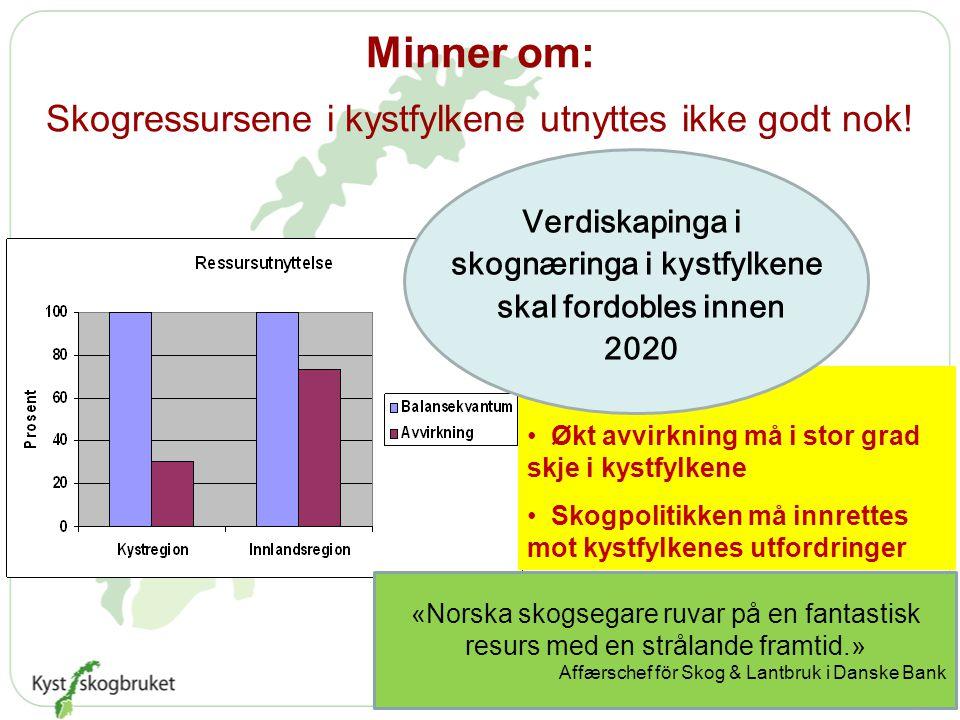 Minner om: Skogressursene i kystfylkene utnyttes ikke godt nok.
