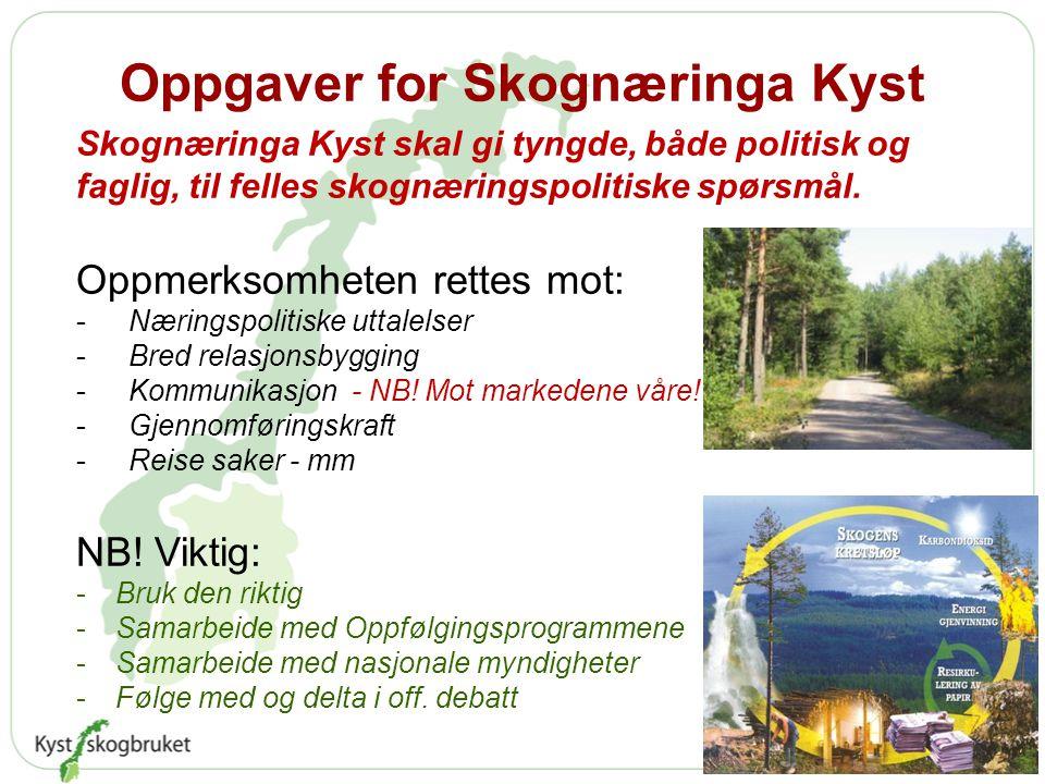 Oppgaver for Skognæringa Kyst Skognæringa Kyst skal gi tyngde, både politisk og faglig, til felles skognæringspolitiske spørsmål.