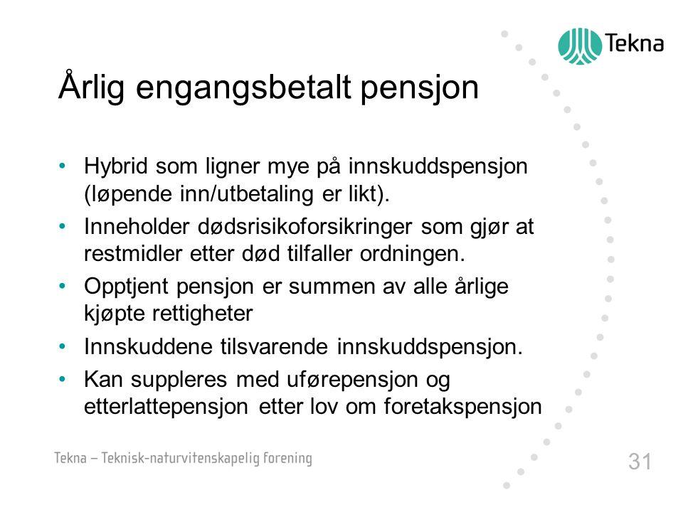 31 Årlig engangsbetalt pensjon •Hybrid som ligner mye på innskuddspensjon (løpende inn/utbetaling er likt). •Inneholder dødsrisikoforsikringer som gjø