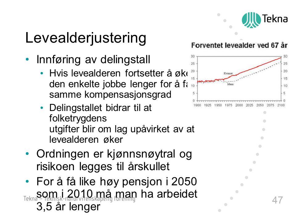 47 Levealderjustering •Innføring av delingstall • Hvis levealderen fortsetter å øke, må den enkelte jobbe lenger for å få samme kompensasjonsgrad • De