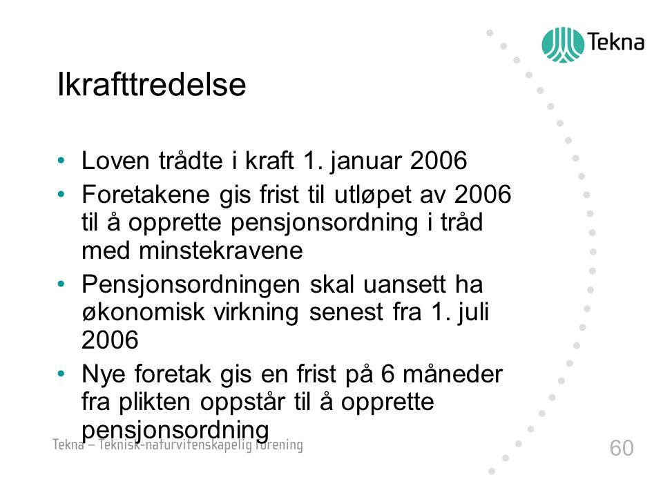 60 Ikrafttredelse •Loven trådte i kraft 1. januar 2006 •Foretakene gis frist til utløpet av 2006 til å opprette pensjonsordning i tråd med minstekrave