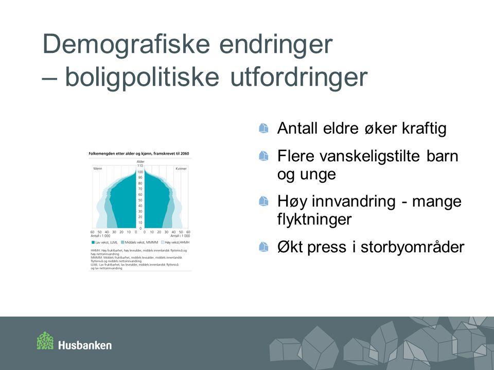 Demografiske endringer – boligpolitiske utfordringer Antall eldre øker kraftig Flere vanskeligstilte barn og unge Høy innvandring - mange flyktninger Økt press i storbyområder