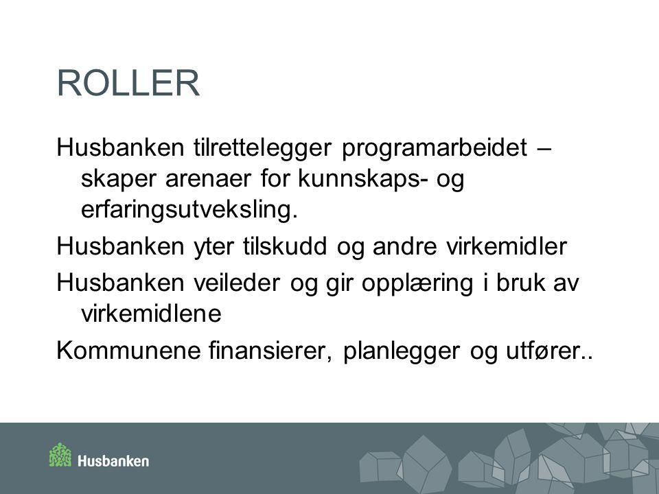 ROLLER Husbanken tilrettelegger programarbeidet – skaper arenaer for kunnskaps- og erfaringsutveksling. Husbanken yter tilskudd og andre virkemidler H