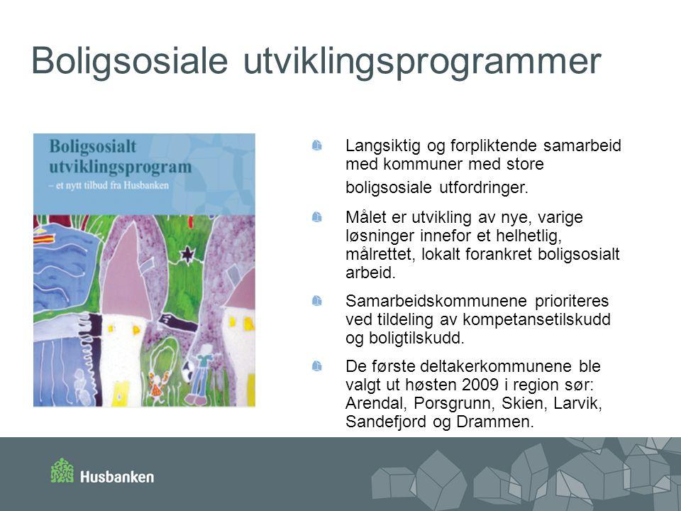Boligsosiale utviklingsprogrammer Langsiktig og forpliktende samarbeid med kommuner med store boligsosiale utfordringer. Målet er utvikling av nye, va