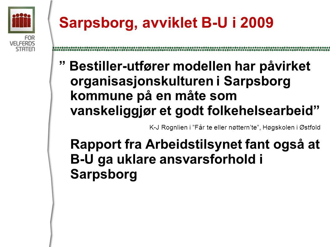 Sarpsborg, avviklet B-U i 2009 Bestiller-utfører modellen har påvirket organisasjonskulturen i Sarpsborg kommune på en måte som vanskeliggjør et godt folkehelsearbeid K-J Rognlien i Får te eller nøttern'te , Høgskolen i Østfold Rapport fra Arbeidstilsynet fant også at B-U ga uklare ansvarsforhold i Sarpsborg