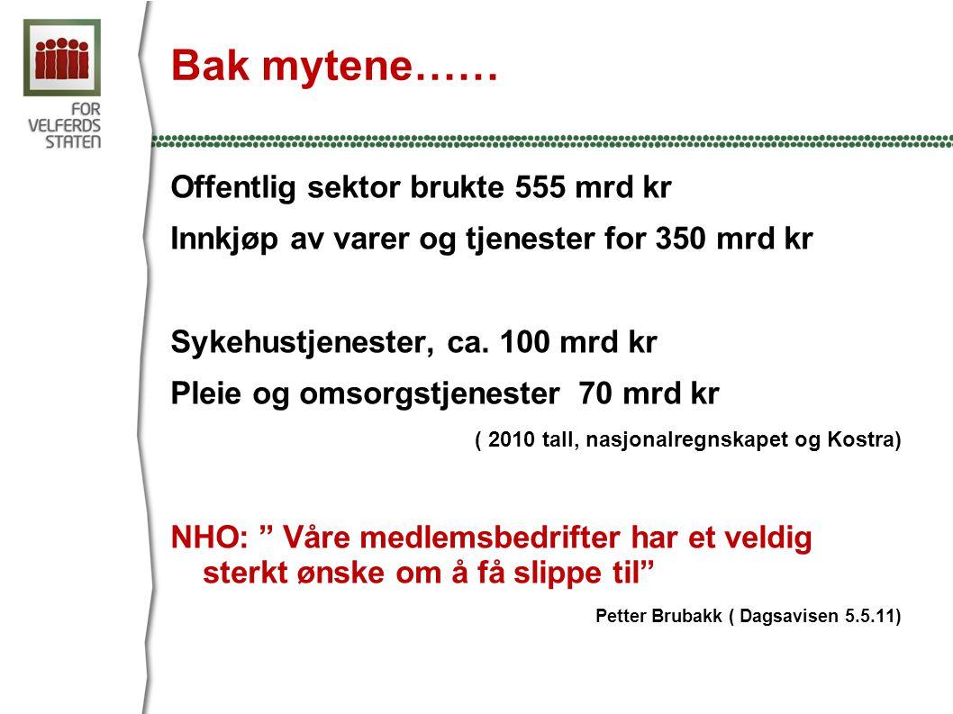 Bak mytene…… Offentlig sektor brukte 555 mrd kr Innkjøp av varer og tjenester for 350 mrd kr Sykehustjenester, ca.