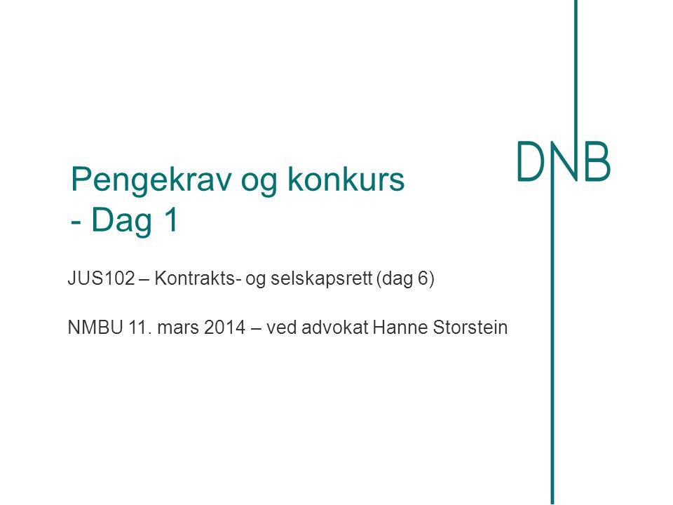 Pengekrav og konkurs - Dag 1 JUS102 – Kontrakts- og selskapsrett (dag 6) NMBU 11. mars 2014 – ved advokat Hanne Storstein