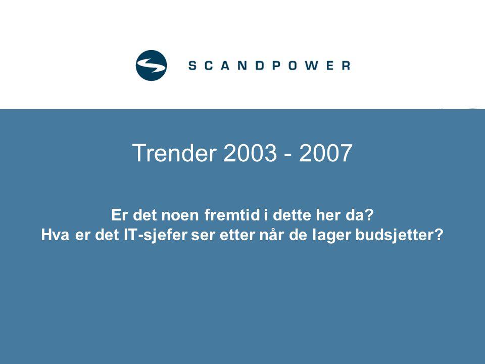 Trender 2003 - 2007 Er det noen fremtid i dette her da? Hva er det IT-sjefer ser etter når de lager budsjetter?