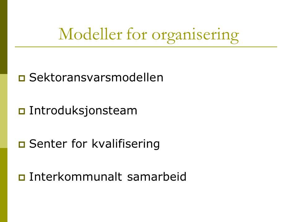 Modeller for organisering  Sektoransvarsmodellen  Introduksjonsteam  Senter for kvalifisering  Interkommunalt samarbeid