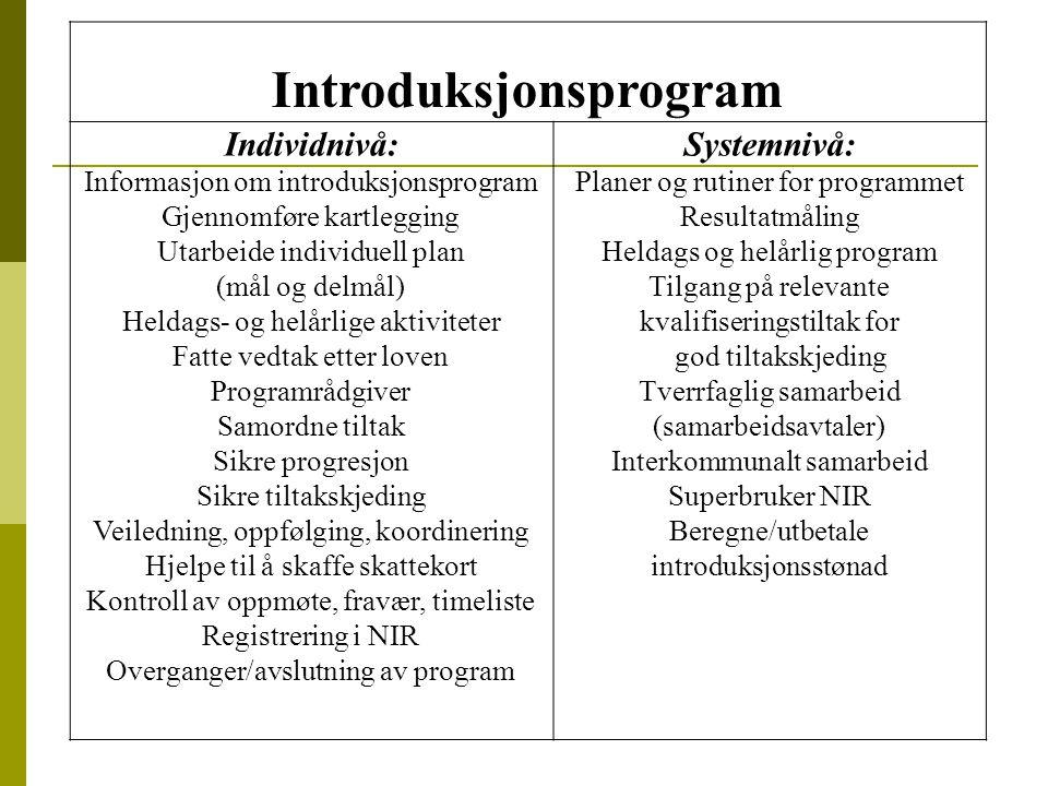 Introduksjonsprogram Individnivå: Informasjon om introduksjonsprogram Gjennomføre kartlegging Utarbeide individuell plan (mål og delmål) Heldags- og h