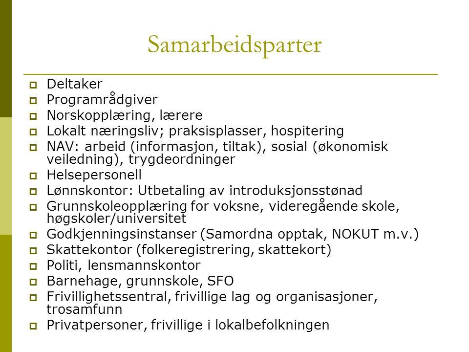 Samarbeidsparter  Deltaker  Programrådgiver  Norskopplæring, lærere  Lokalt næringsliv; praksisplasser, hospitering  NAV: arbeid (informasjon, ti