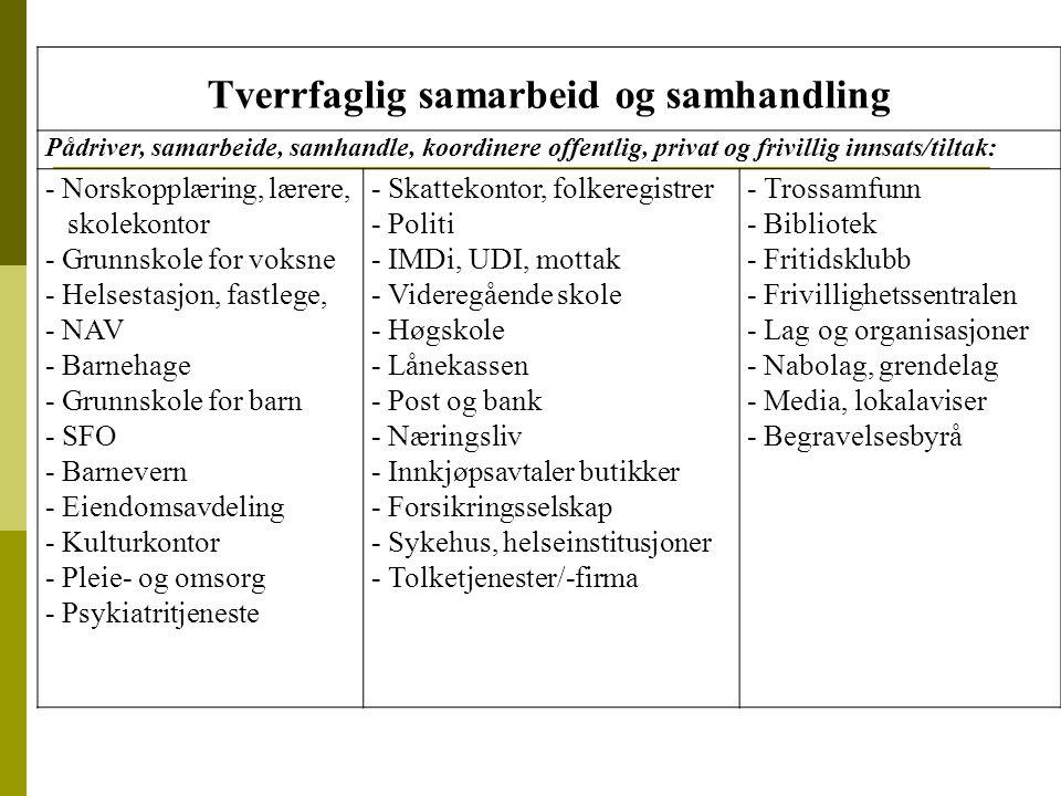 Tverrfaglig samarbeid og samhandling Pådriver, samarbeide, samhandle, koordinere offentlig, privat og frivillig innsats/tiltak: - Norskopplæring, lære