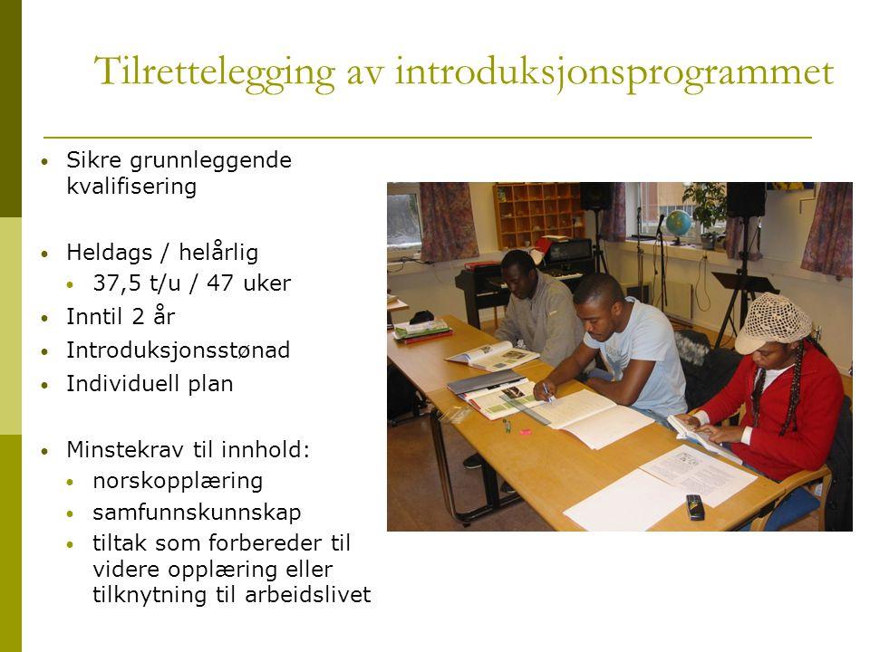Tilrettelegging av introduksjonsprogrammet  Sikre grunnleggende kvalifisering  Heldags / helårlig  37,5 t/u / 47 uker  Inntil 2 år  Introduksjons