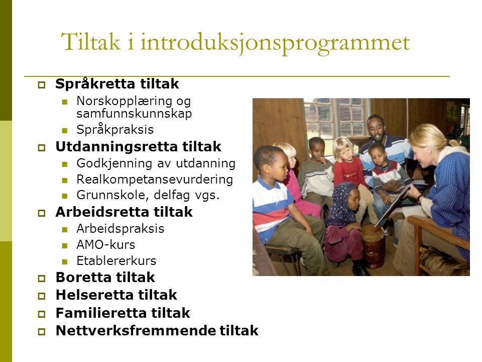 Tiltak i introduksjonsprogrammet  Språkretta tiltak  Norskopplæring og samfunnskunnskap  Språkpraksis  Utdanningsretta tiltak  Godkjenning av utd