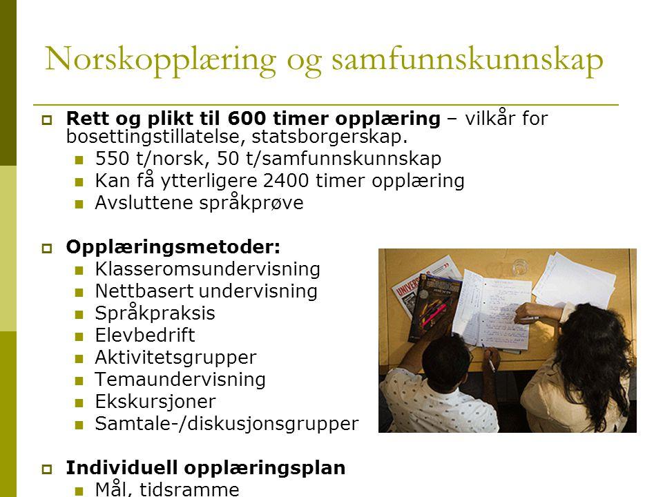 Norskopplæring og samfunnskunnskap  Rett og plikt til 600 timer opplæring – vilkår for bosettingstillatelse, statsborgerskap.  550 t/norsk, 50 t/sam