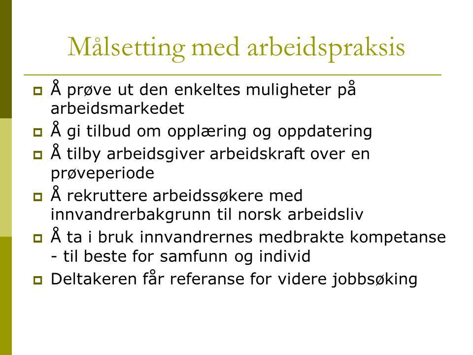 Målsetting med arbeidspraksis  Å prøve ut den enkeltes muligheter på arbeidsmarkedet  Å gi tilbud om opplæring og oppdatering  Å tilby arbeidsgiver