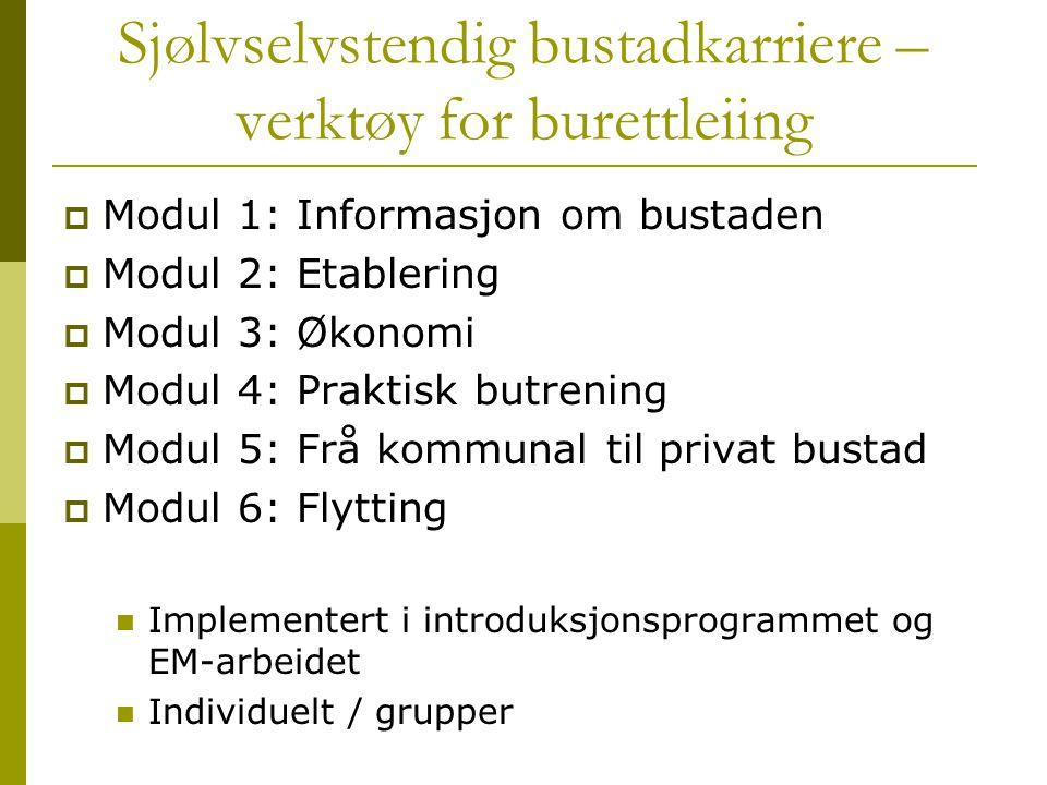 Sjølvselvstendig bustadkarriere – verktøy for burettleiing  Modul 1: Informasjon om bustaden  Modul 2: Etablering  Modul 3: Økonomi  Modul 4: Prak