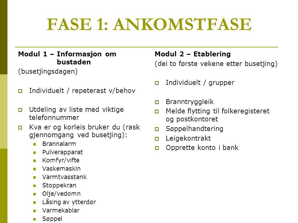 FASE 1: ANKOMSTFASE Modul 1 – Informasjon om bustaden (busetjingsdagen)  Individuelt / repeterast v/behov  Utdeling av liste med viktige telefonnumm