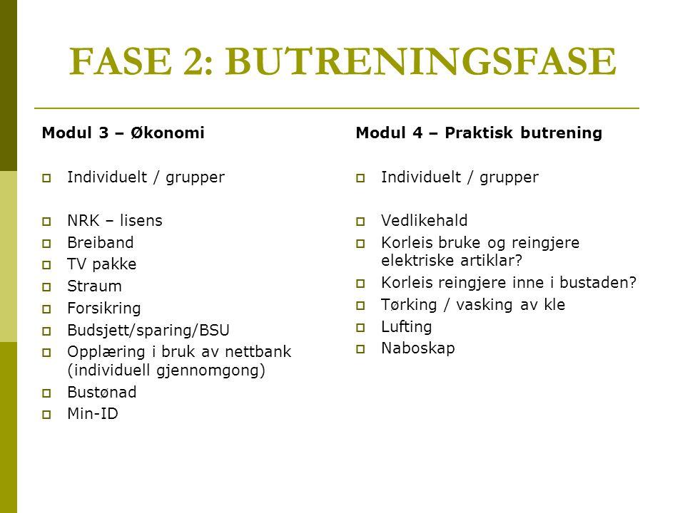 FASE 2: BUTRENINGSFASE Modul 3 – Økonomi  Individuelt / grupper  NRK – lisens  Breiband  TV pakke  Straum  Forsikring  Budsjett/sparing/BSU  O