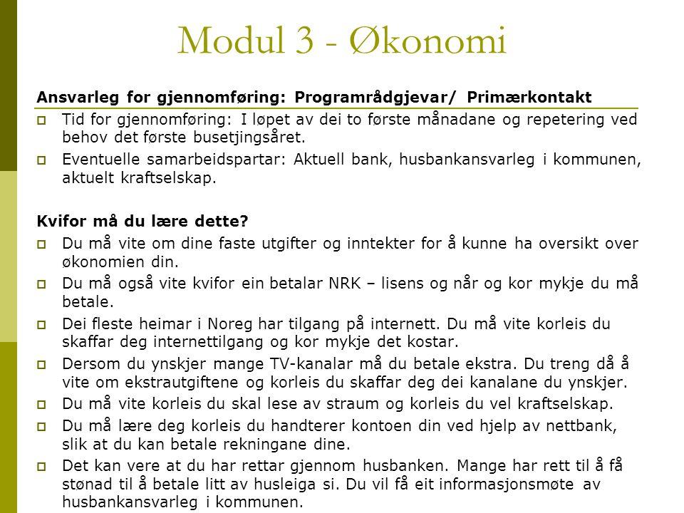 Modul 3 - Økonomi Ansvarleg for gjennomføring: Programrådgjevar/ Primærkontakt  Tid for gjennomføring: I løpet av dei to første månadane og repeterin
