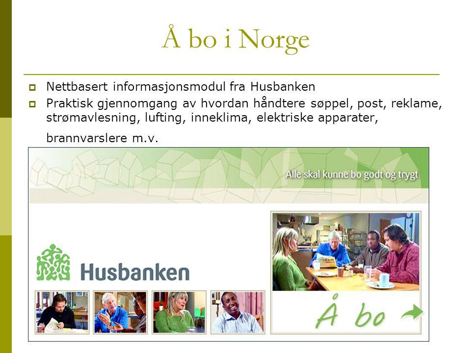 Å bo i Norge  Nettbasert informasjonsmodul fra Husbanken  Praktisk gjennomgang av hvordan håndtere søppel, post, reklame, strømavlesning, lufting, i