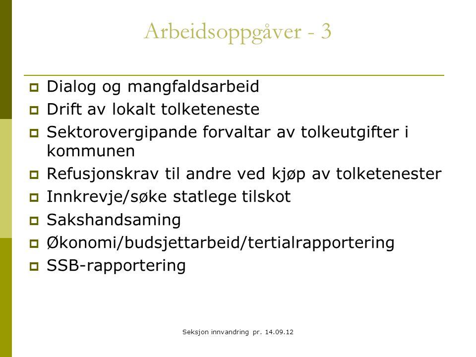 Arbeidsoppgåver - 3  Dialog og mangfaldsarbeid  Drift av lokalt tolketeneste  Sektorovergipande forvaltar av tolkeutgifter i kommunen  Refusjonskr