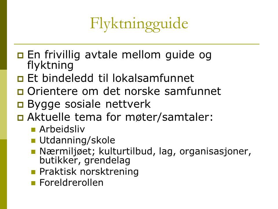Flyktningguide  En frivillig avtale mellom guide og flyktning  Et bindeledd til lokalsamfunnet  Orientere om det norske samfunnet  Bygge sosiale n