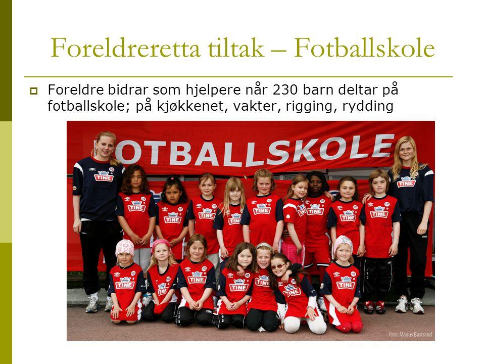 Foreldreretta tiltak – Fotballskole  Foreldre bidrar som hjelpere når 230 barn deltar på fotballskole; på kjøkkenet, vakter, rigging, rydding