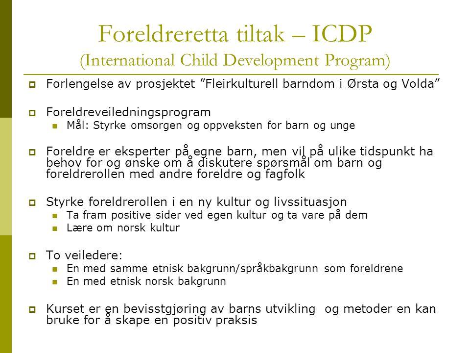"""Foreldreretta tiltak – ICDP (International Child Development Program)  Forlengelse av prosjektet """"Fleirkulturell barndom i Ørsta og Volda""""  Foreldre"""