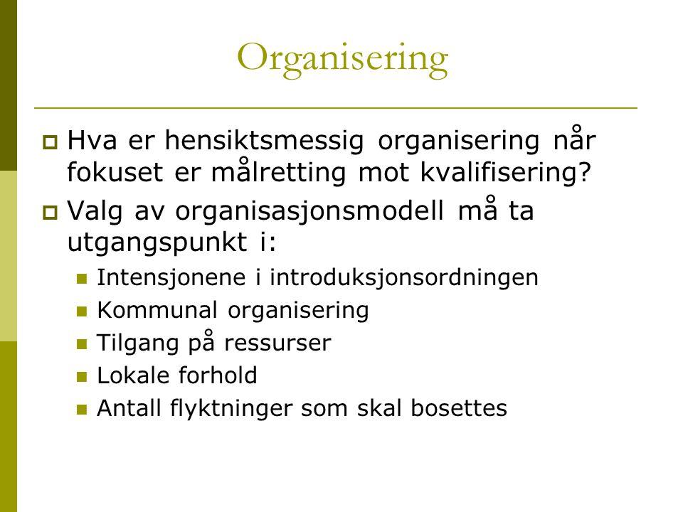 Organisering  Hva er hensiktsmessig organisering når fokuset er målretting mot kvalifisering?  Valg av organisasjonsmodell må ta utgangspunkt i:  I