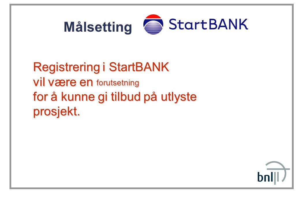 Målsetting Registrering i StartBANK vil være en forutsetning for å kunne gi tilbud på utlyste prosjekt.