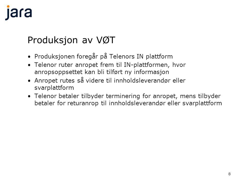 8 Produksjon av VØT •Produksjonen foregår på Telenors IN plattform •Telenor ruter anropet frem til IN-plattformen, hvor anropsoppsettet kan bli tilfør