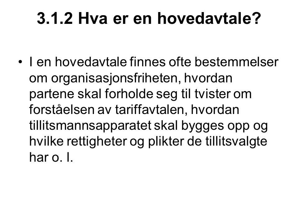 3.1.3 Hva er en hovedtariffavtale.