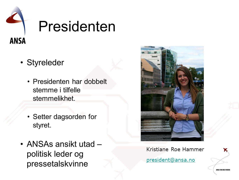 Presidenten •Styreleder •Presidenten har dobbelt stemme i tilfelle stemmelikhet. •Setter dagsorden for styret. •ANSAs ansikt utad – politisk leder og