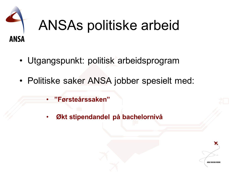 ANSAs politiske arbeid •Utgangspunkt: politisk arbeidsprogram •Politiske saker ANSA jobber spesielt med: • Førsteårssaken • Økt stipendandel på bachelornivå
