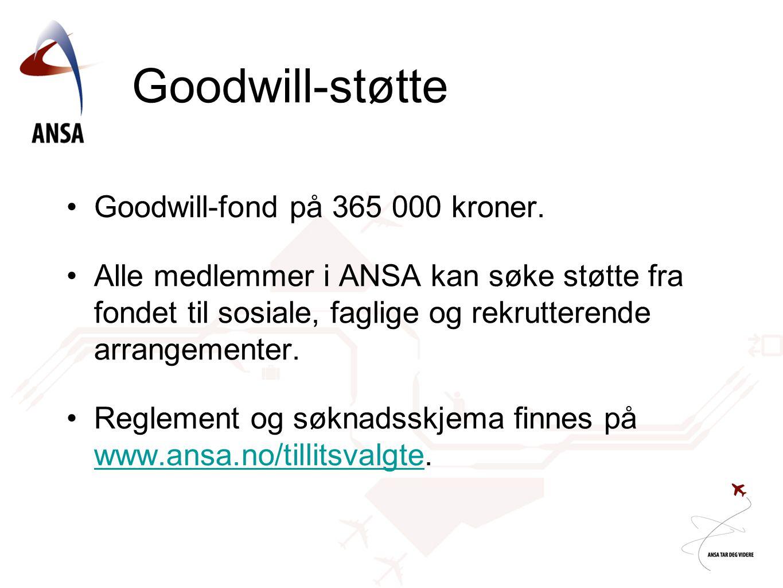 Goodwill-støtte •Goodwill-fond på 365 000 kroner.