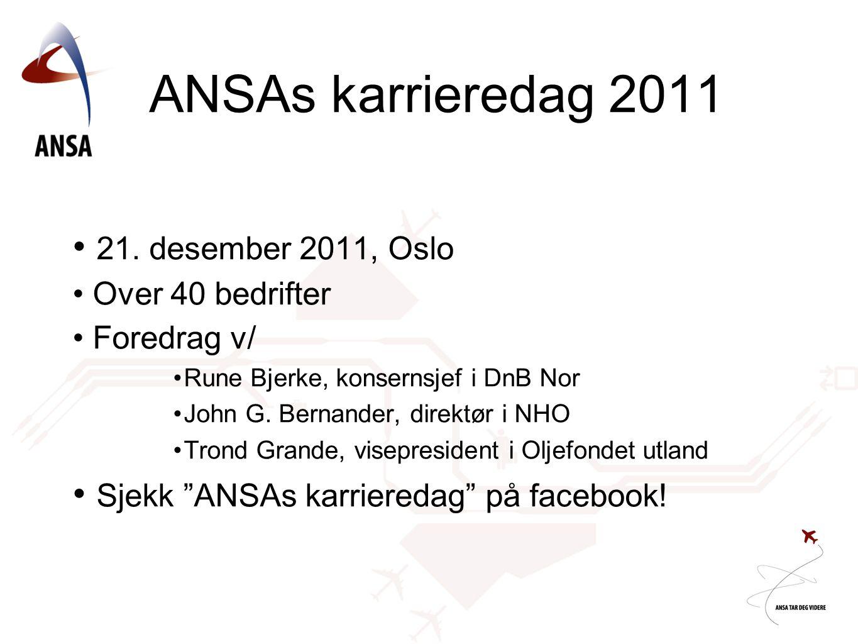 ANSAs karrieredag 2011 • 21. desember 2011, Oslo • Over 40 bedrifter • Foredrag v/ •Rune Bjerke, konsernsjef i DnB Nor •John G. Bernander, direktør i
