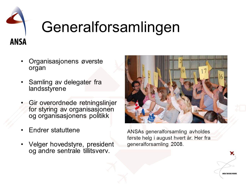 Generalforsamlingen •Organisasjonens øverste organ •Samling av delegater fra landsstyrene •Gir overordnede retningslinjer for styring av organisasjonen og organisasjonens politikk •Endrer statuttene •Velger hovedstyre, president og andre sentrale tillitsverv.