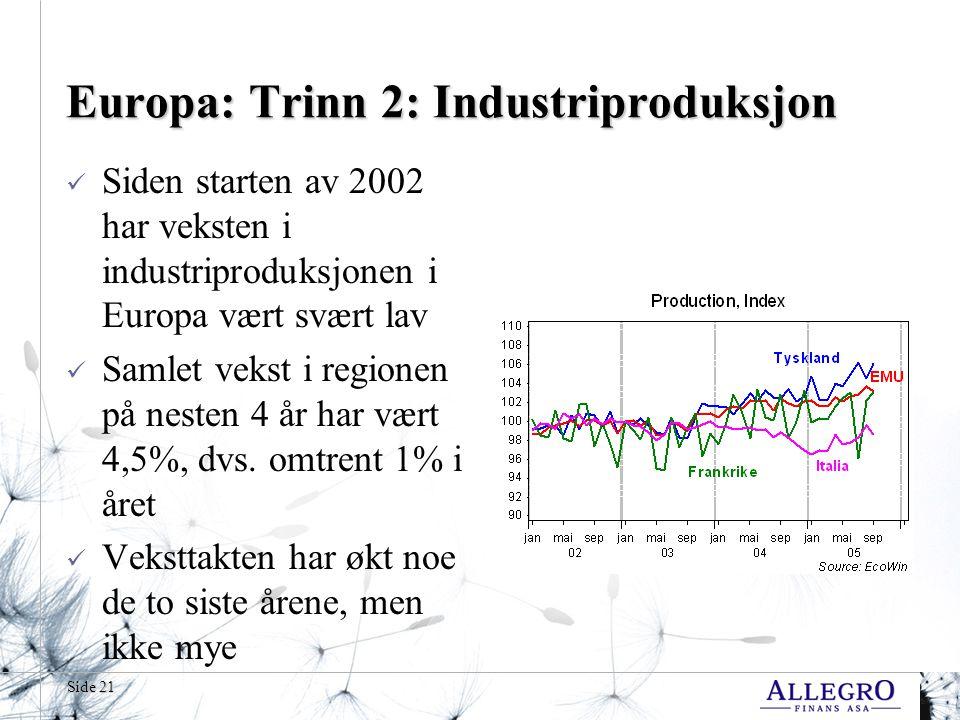 Side 21 Europa: Trinn 2: Industriproduksjon  Siden starten av 2002 har veksten i industriproduksjonen i Europa vært svært lav  Samlet vekst i regionen på nesten 4 år har vært 4,5%, dvs.