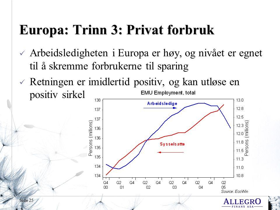 Side 25 Europa: Trinn 3: Privat forbruk  Arbeidsledigheten i Europa er høy, og nivået er egnet til å skremme forbrukerne til sparing  Retningen er imidlertid positiv, og kan utløse en positiv sirkel