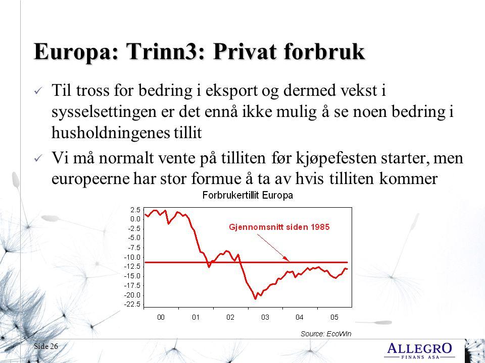 Side 26 Europa: Trinn3: Privat forbruk  Til tross for bedring i eksport og dermed vekst i sysselsettingen er det ennå ikke mulig å se noen bedring i husholdningenes tillit  Vi må normalt vente på tilliten før kjøpefesten starter, men europeerne har stor formue å ta av hvis tilliten kommer