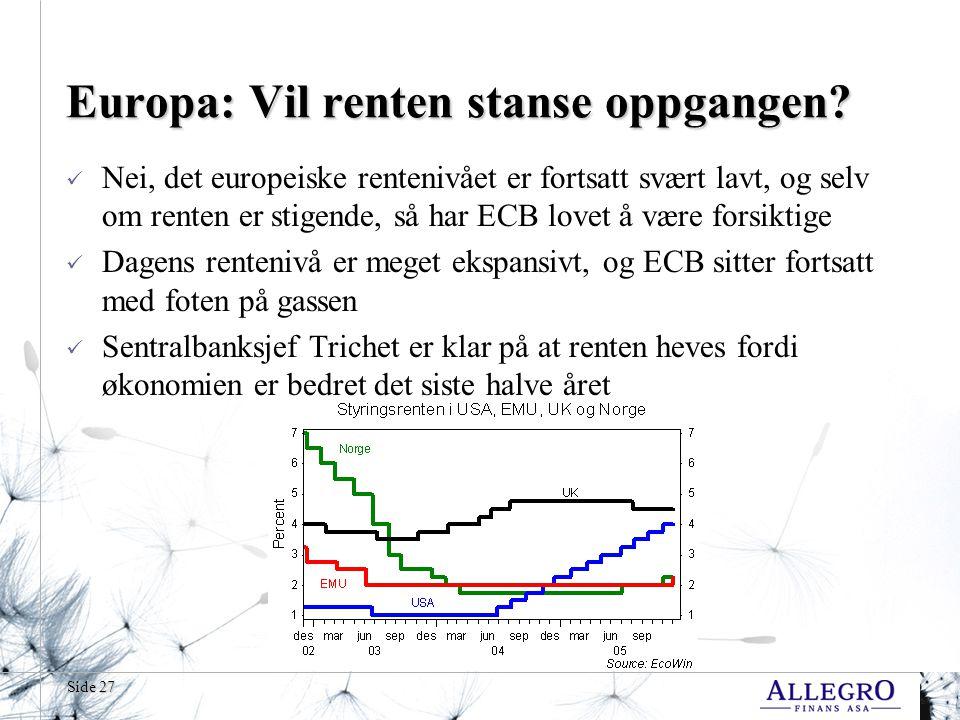 Side 27 Europa: Vil renten stanse oppgangen.