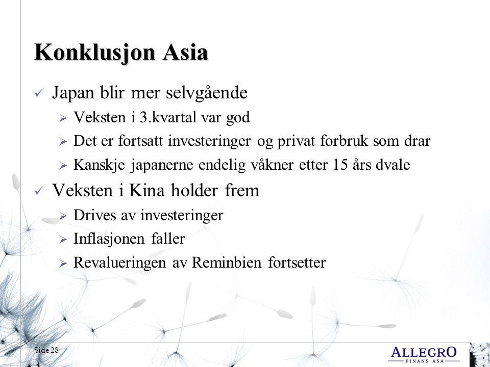 Side 28 Konklusjon Asia  Japan blir mer selvgående  Veksten i 3.kvartal var god  Det er fortsatt investeringer og privat forbruk som drar  Kanskje japanerne endelig våkner etter 15 års dvale  Veksten i Kina holder frem  Drives av investeringer  Inflasjonen faller  Revalueringen av Reminbien fortsetter