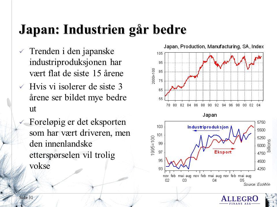 Side 31 Japan: Industrien går bedre  Trenden i den japanske industriproduksjonen har vært flat de siste 15 årene  Hvis vi isolerer de siste 3 årene ser bildet mye bedre ut  Foreløpig er det eksporten som har vært driveren, men den innenlandske etterspørselen vil trolig vokse