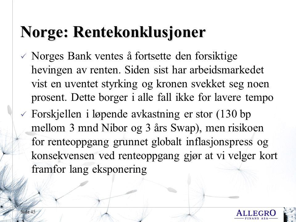 Side 45 Norge: Rentekonklusjoner  Norges Bank ventes å fortsette den forsiktige hevingen av renten.
