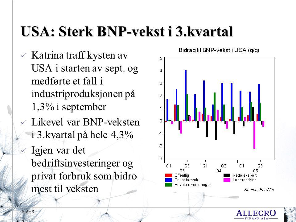 Side 40 Norge: Ingen skyer på himmelen  Økonomisk Rapports forventningsindikator viser at det norske folk ikke ser noen skyer på himmelen  En marginal reduksjon i tilliten til landets økonomi endrer ikke bildet fra 3.kvartal  Rentehevingen biter altså ikke riktig ennå, og det skulle bare mangle