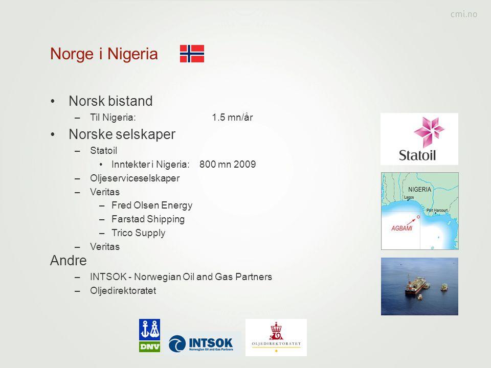 Norge i Nigeria •Norsk bistand –Til Nigeria: 1.5 mn/år •Norske selskaper –Statoil •Inntekter i Nigeria: 800 mn 2009 –Oljeserviceselskaper –Veritas –Fr