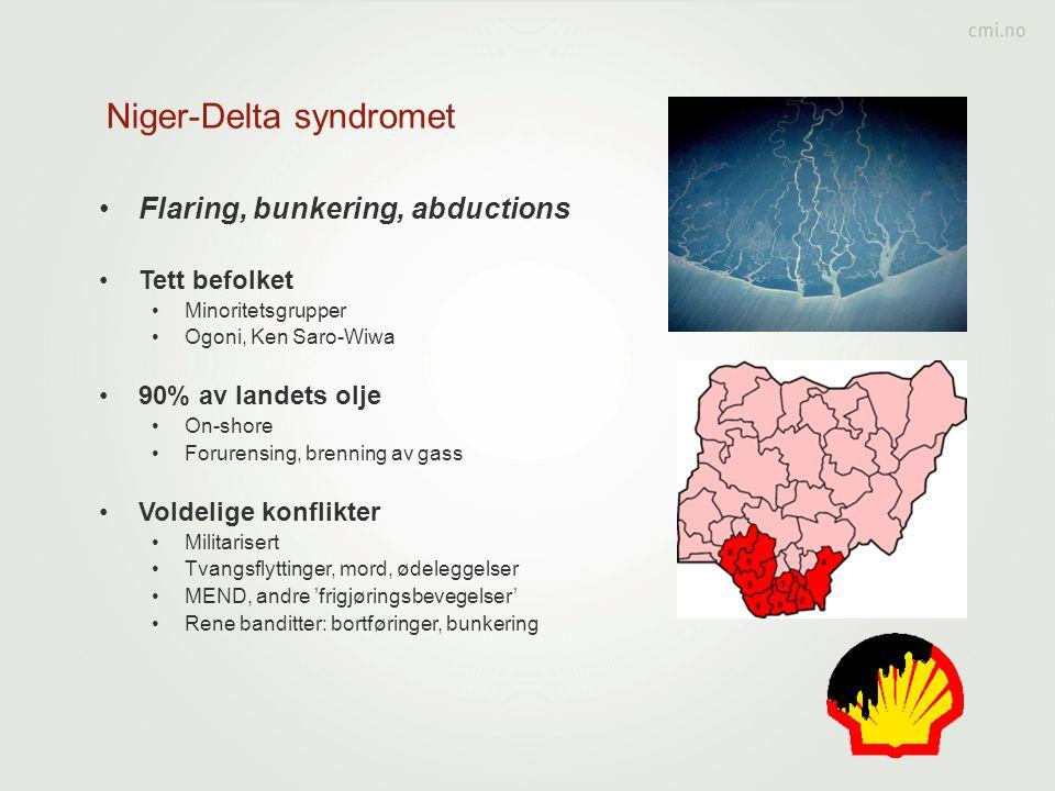 Niger-Delta syndromet •Flaring, bunkering, abductions •Tett befolket •Minoritetsgrupper •Ogoni, Ken Saro-Wiwa •90% av landets olje •On-shore •Forurens