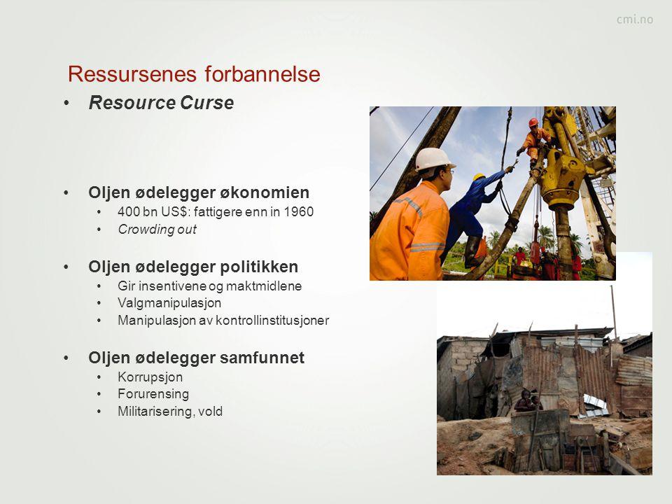 Ressursenes forbannelse •Resource Curse •Oljen ødelegger økonomien •400 bn US$: fattigere enn in 1960 •Crowding out •Oljen ødelegger politikken •Gir i