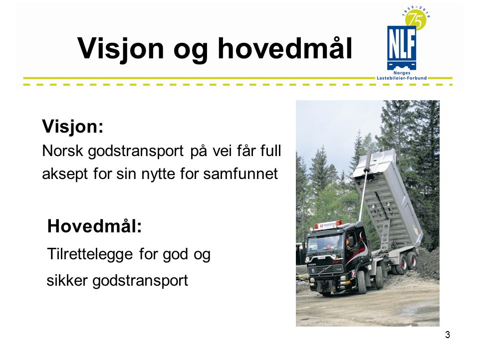 Visjon og hovedmål Visjon: Norsk godstransport på vei får full aksept for sin nytte for samfunnet Hovedmål: Tilrettelegge for god og sikker godstransport 3
